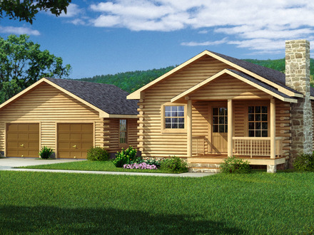 Small 2 story log cabin kits 2 story bungalow 2 story for Two story log cabin kits