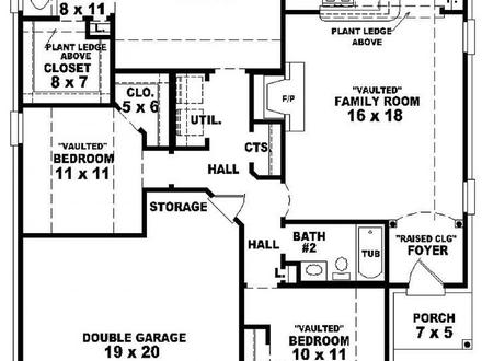 3 Bedroom 2 Bath 1 Story House Plans Floor Plans for 3 Bedroom 2 Bath House