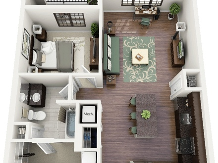 3D One Bedroom Apartment Floor Plans One Bedroom Apartment Layouts