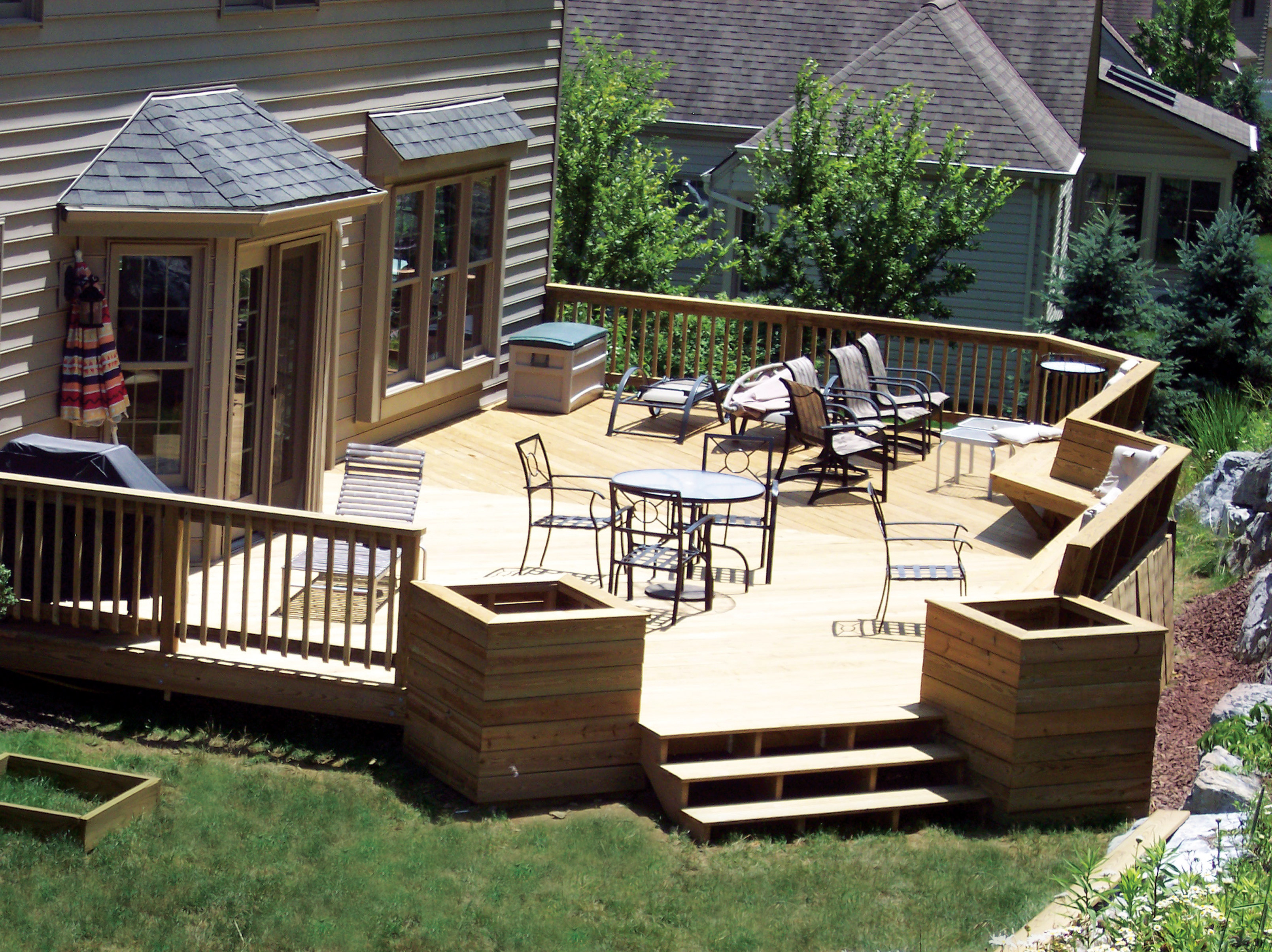 Ground Level Deck Designs Backyard Idea Deck Design, house ... on Back Deck Ideas For Ranch Style Homes id=48220