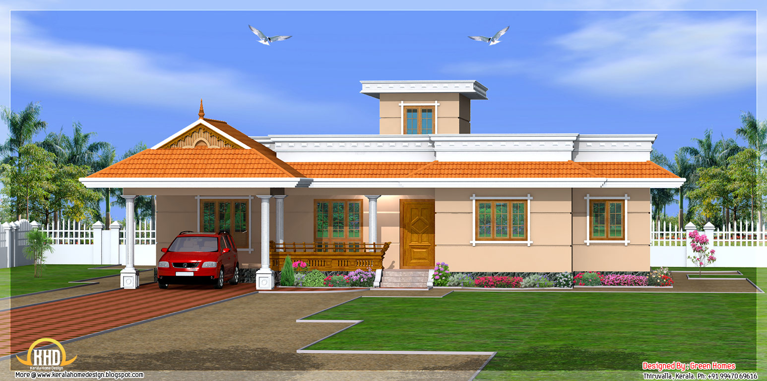 Kerala house designs one story most beautiful houses in for Beautiful ranch home designs