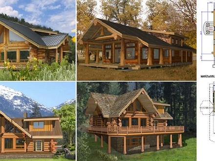 Ranch log cabin homes ranch style log home plans square for Ranch style log home floor plans