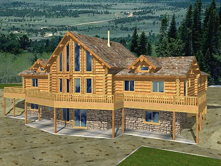 Log Home Plans with Garages Log Home Plans with Basement