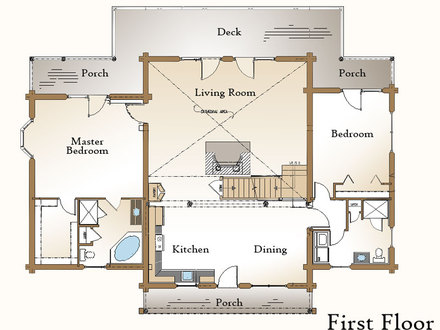 Simple small house floor plans small cabin floor plans for Log cabin floor plans with walkout basement
