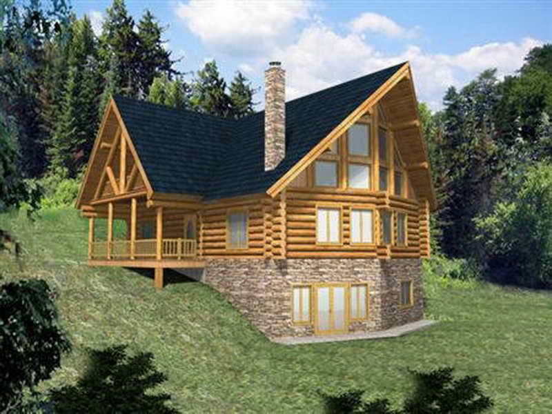Log Home Plans with Walkout Basement Log Home Plans with Wrap around Porch