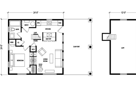 Small cabin floor plans with loft small modular homes for Micro compact home floor plan