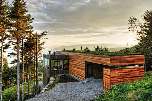 Modern Houses with Green Roofs Glass Greenhouse