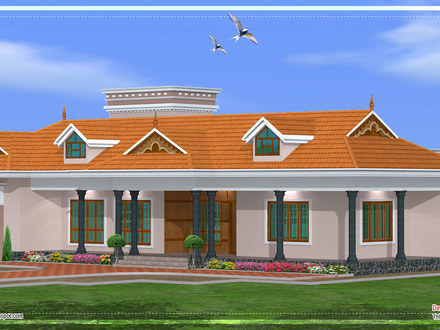 Single Story House Plans with Porches Kerala Single Story House
