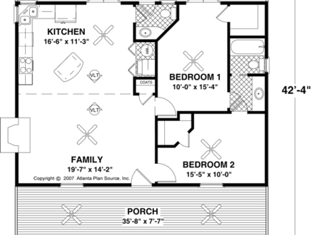 Small House Floor Plans Under 500 Sq FT Small Two Bedroom House Plans