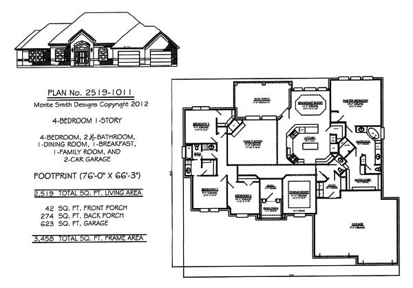 1 Story House Plans with 4 Bedrooms Simple One Story House Plans