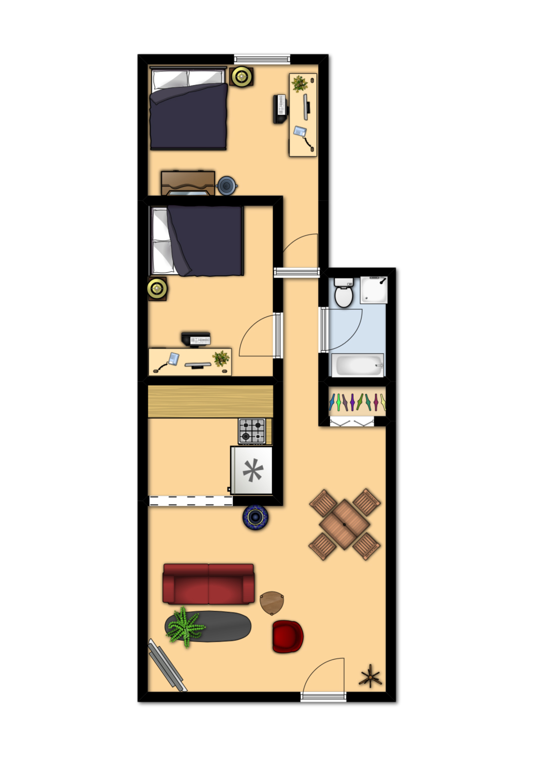 600 square foot apartment layout 600 sq ft apartment floor for Square foot of 20x20