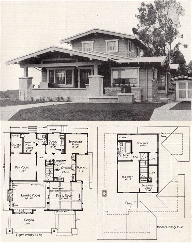 Airplane bungalow house plans historic bungalow house plan for Old bungalow house plans