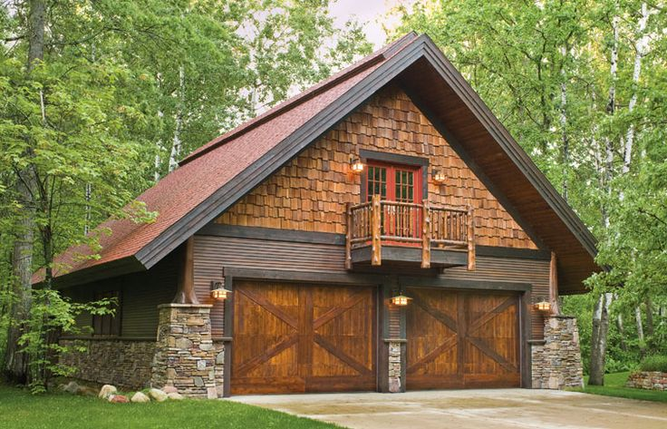 Cedar log cabin homes log cabin stone cedar garage cabin for Stone and cedar homes