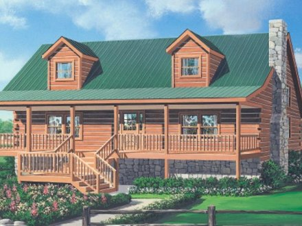 Log cabin floor plans with wrap around porch log cabin for Log home plans georgia
