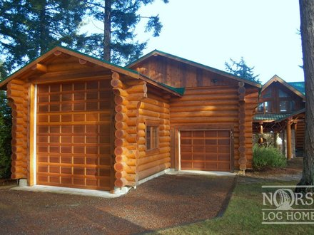 Log Home with Garage Cowboy Log Homes