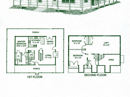 Southern log homes floor plan log home open floor plan for Luxury log cabin plans