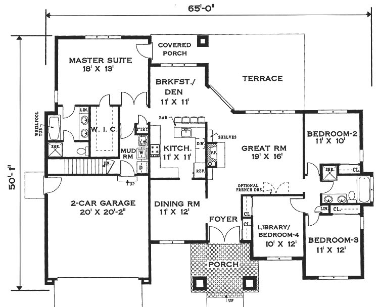 Simple One Story House Floor Plans Small One Story House