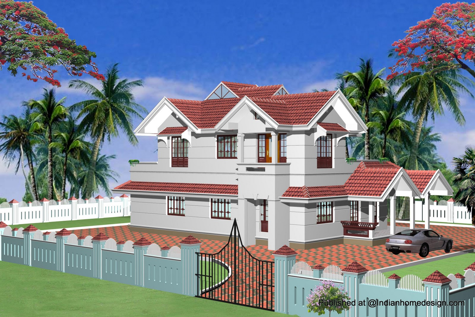 Single story home exterior design indian exterior house for Exterior home designs india