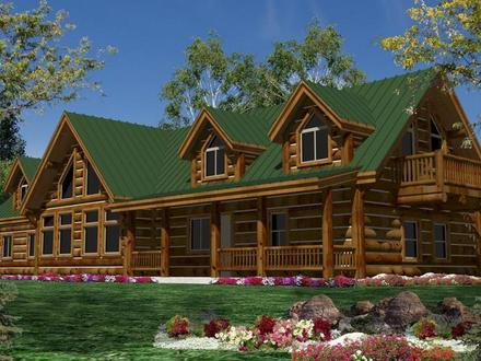 Log cabin home with wrap around porch big log cabin homes for Log homes with wrap around porch
