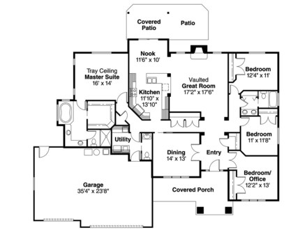 Country Ranch House Plans ranch house plan goldendale 30 540 left elevaiton ranch house