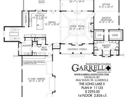 Narrow lot lake house floor plans rustic lake house lake for Lake house floor plans narrow lot