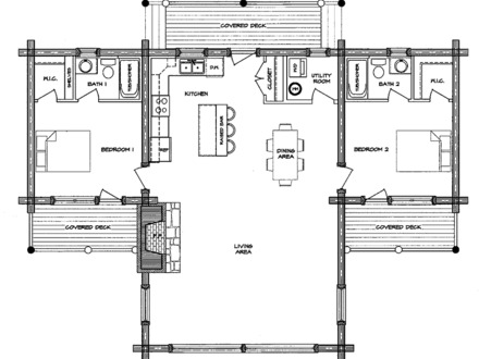 Open floor plans one level homes single story open floor for Log homes with basement floor plans