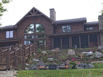 1-Story Log Home Plans Lake Log Home Plans