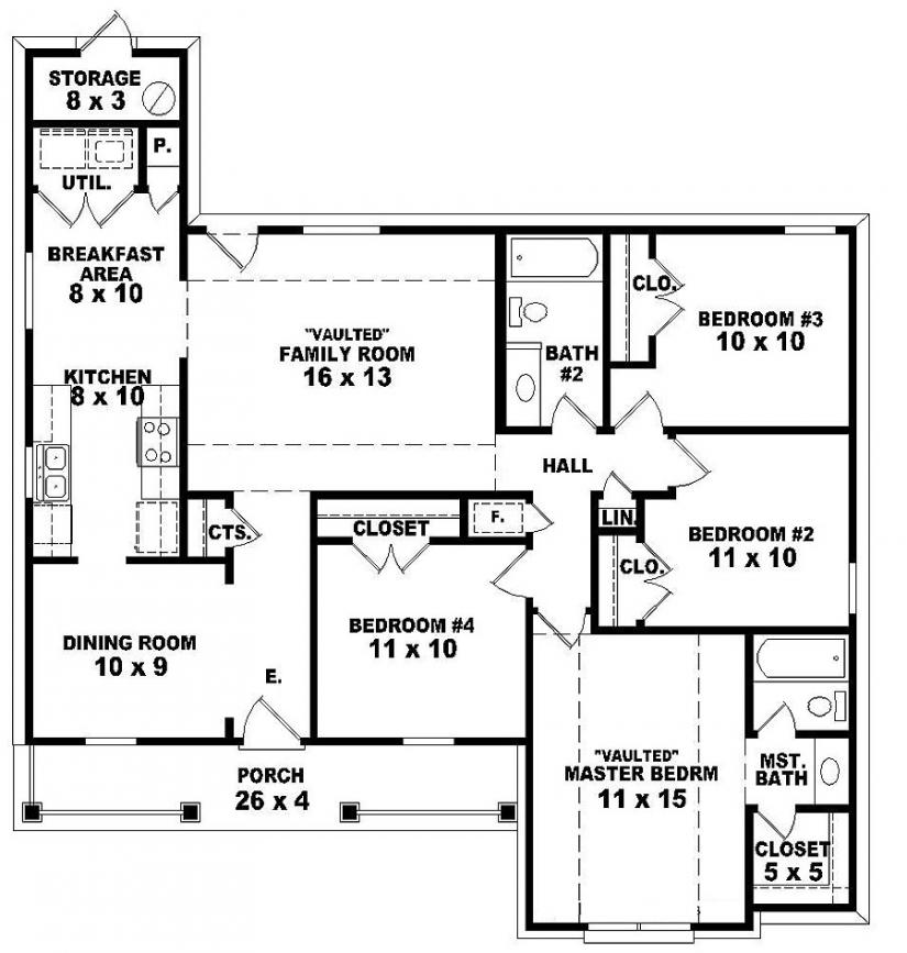 4 bedroom 2 story house floor plans master bedroom two for Dual master bedroom house plans