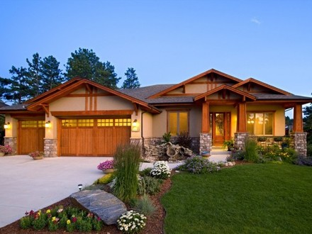 Craftsman Ranch Home Exterior Exterior Ranch Homes with Stone