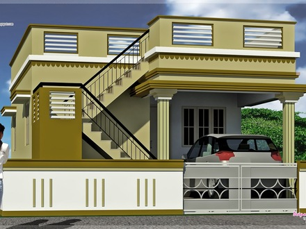 Kerala single floor house designs modern tiny house floor for Simple indian house front design