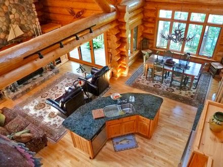 Shutt Log Home With Log Homes with Open Floor Plans