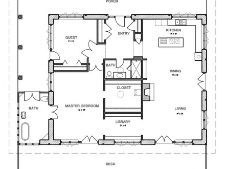 Small Cottage House with Porch Small House with Porch Plan