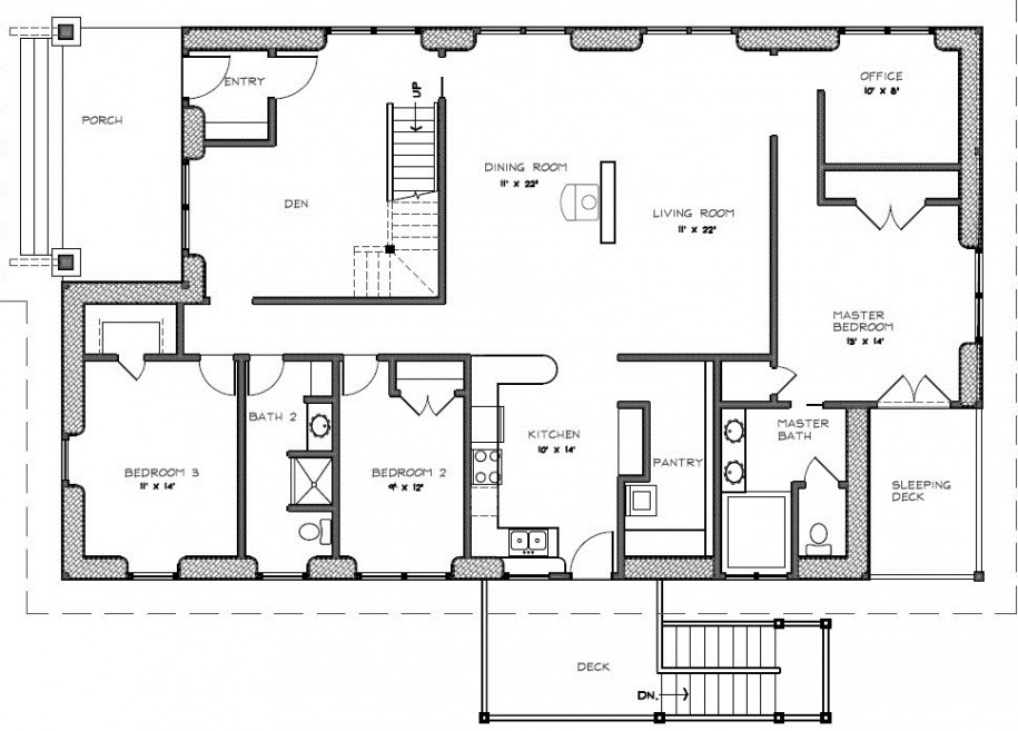 Two Bedroom House Plans with Porch 3 Bedroom 2 Bath House Plans