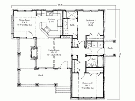 Two Bedroom House Simple Floor Plans Architectural 2 Bedroom House