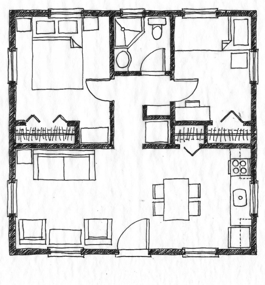 Two Bedroom House Simple Plans 2 Bedroom House Simple Plan