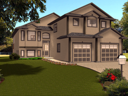 Bungalow house plans with garage bungalow front porch with for Bi level home plans with garage
