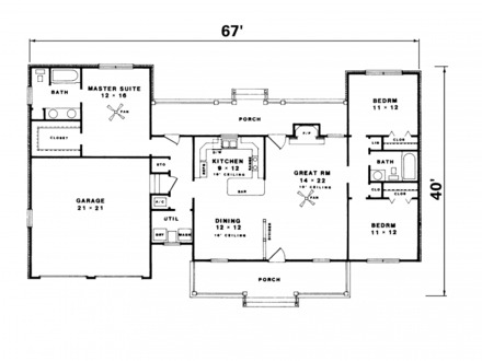 Simple 2 Bedroom Ranch House Plan Simple Ranch House Floor Plans