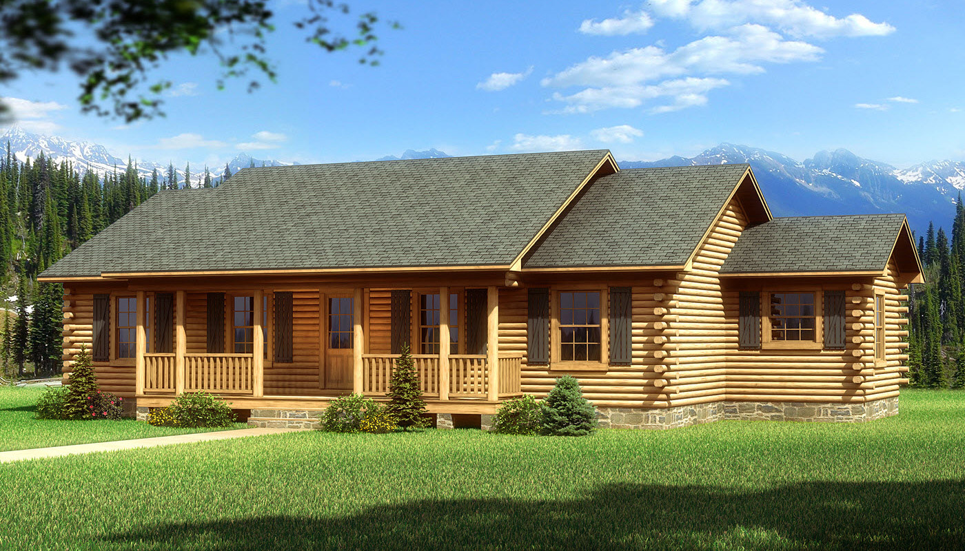 Single story log cabin homes plans single story cabin for Mountain cabin home plans