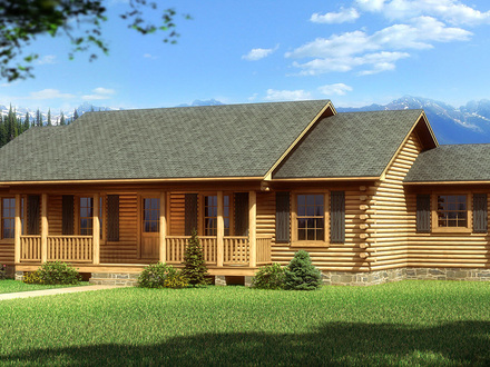 Log Cabin Home With Wrap Around Porch Big Log Cabin Homes
