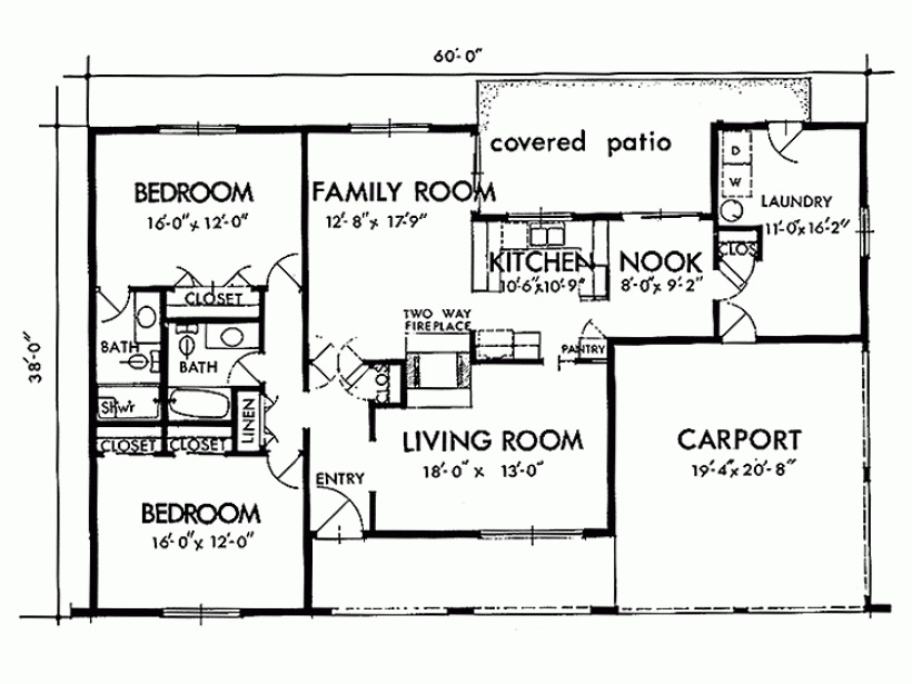 Two Bedroom House Simple Plans 2 Bedroom 2 Bathroom House Plans