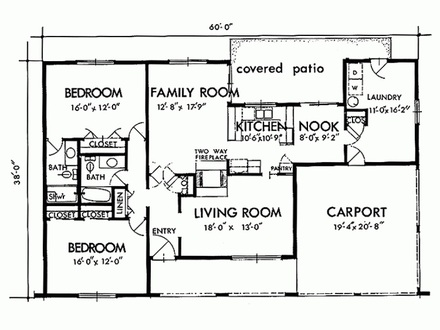 Two Bedroom House Simple Plans Three Bedroom House Plans