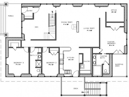 Two Bedroom House Plans with Porch Three Bedroom House Plans