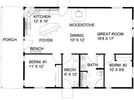 1200 square foot house plans with 3 bedrooms 1200 square for Square footage of a room