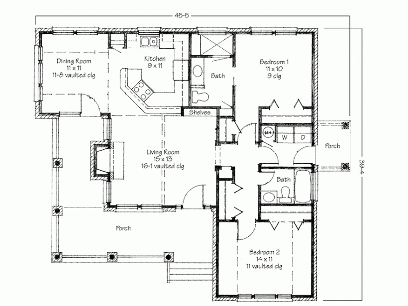 2 Bedroom House for Rent Two Bedroom House Simple Floor Plans