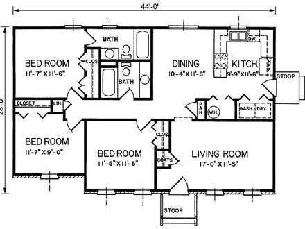 Bungalow Floor Plans 1200 Sq FT Small Bungalow House Plans