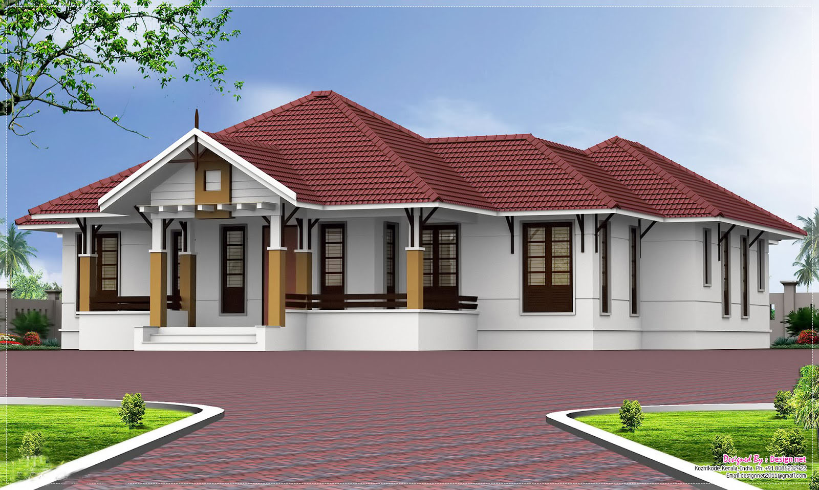 Modern single story floor plan kerala single floor 4 for Single story 4 bedroom modern house plans