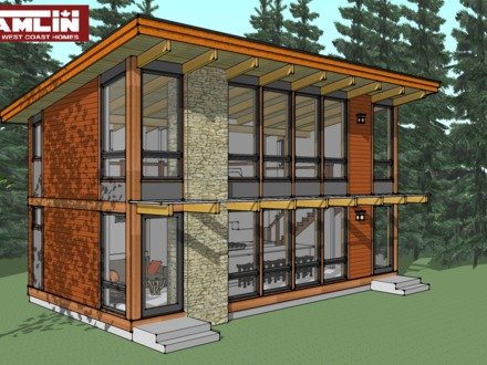 Modern cabin with shed roof modern prefab cabin kits for Simple timber frame homes