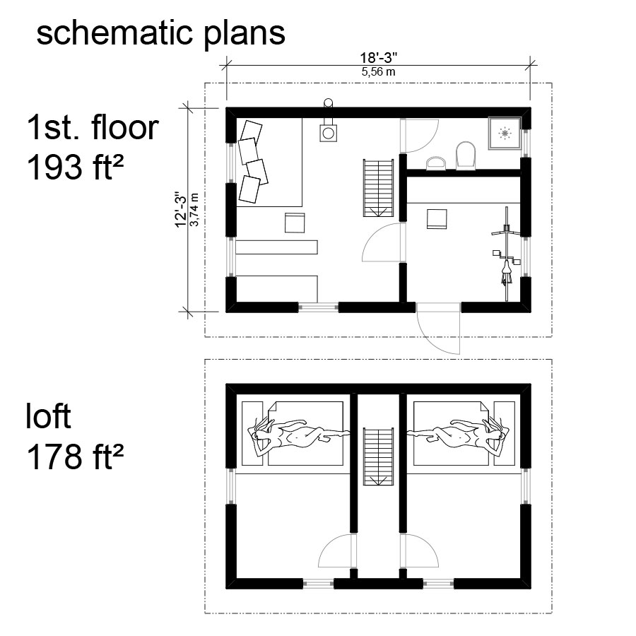 Small cottage floor plans with loft cottage cabin floor for Loft floor plans with dimensions