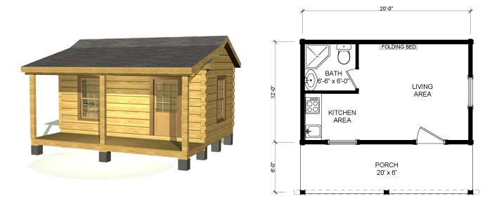 Small log cabin homes floor plans small log cabin plans for Fishing cabin kits