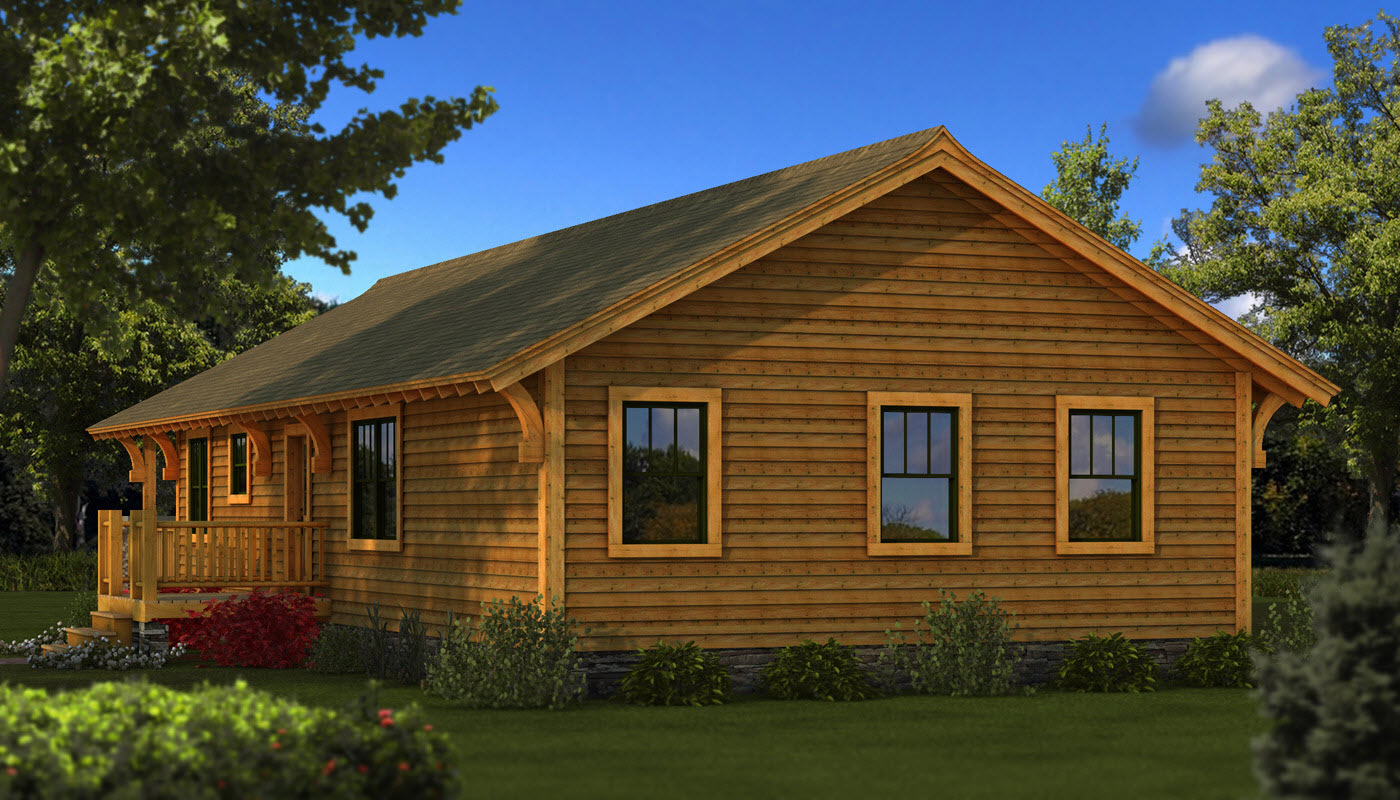 The bungalow company house plans log home plans bungalow for Small river house plans